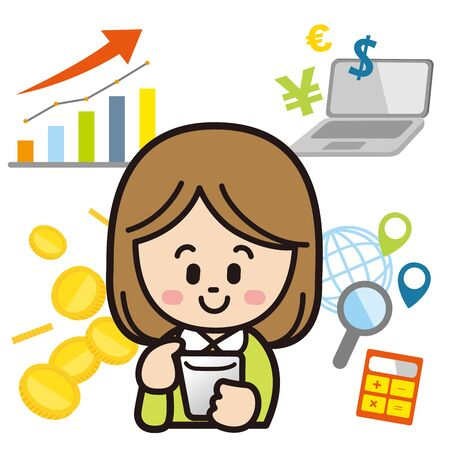 Woman investing with  smartphone