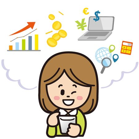 Woman investing with smartphone (winks)