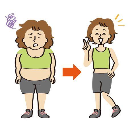 Middle-aged women in fitness wear go on a diet
