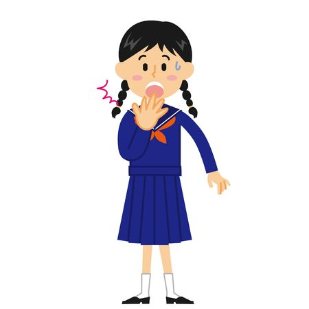 Female Junior High School Student Surprised  イラスト・ベクター素材