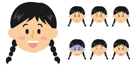 Women's Junior High School Students Facial Expressions Ilustração