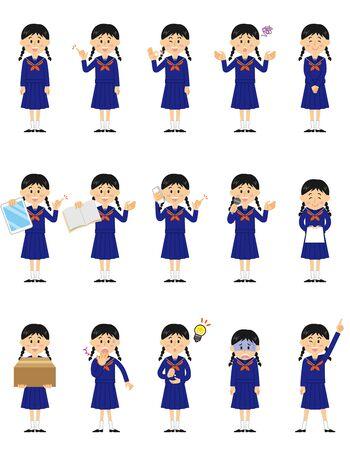 Women's Junior High School Student Illustration