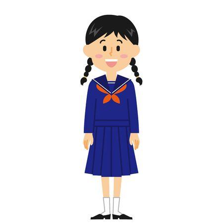 Women's Junior High School Student Smile  イラスト・ベクター素材