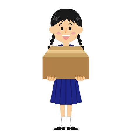 Women's Junior High School Student Cardboard Banque d'images - 131276198