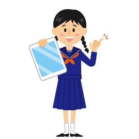 Women's Junior High School Student Tablet Illustration