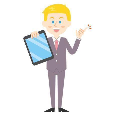 American Businessman Tablet  イラスト・ベクター素材