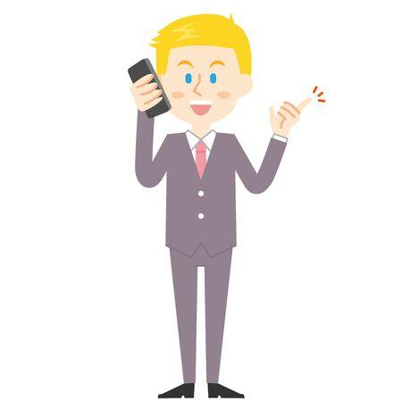 American Businessman Smartphone  イラスト・ベクター素材