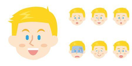 American Businessman Facial Expression Illustration