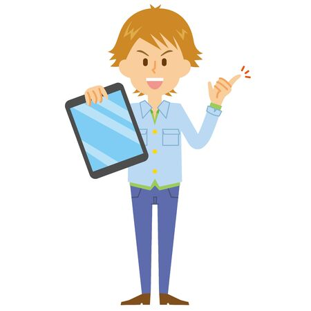 young man tablet Illustration