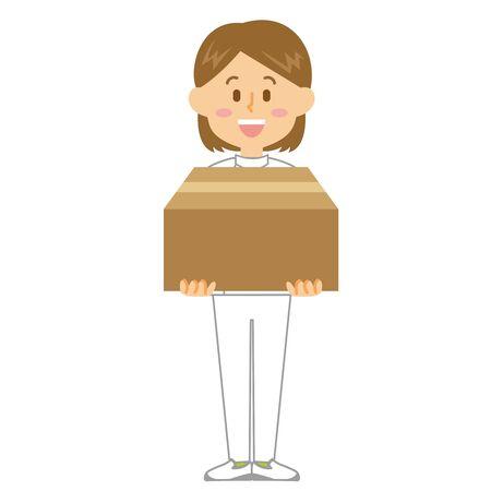 Caregiver Woman Cardboard 일러스트