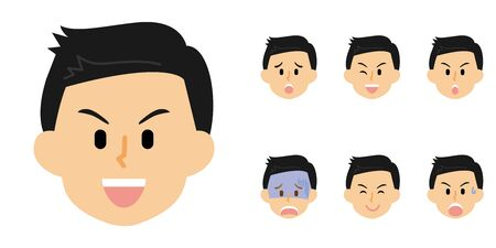 15 Series_Men in White_Mens Expressions  イラスト・ベクター素材