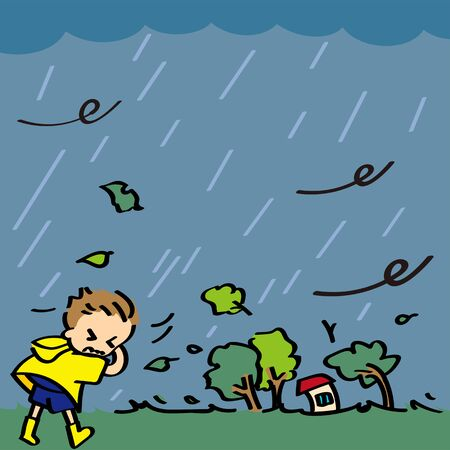 A boy walks in a storm caused by typhoons and bad weather