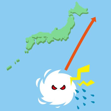 Typhoon swaying into the Arctic Ocean (tropical cyclone) Illustration