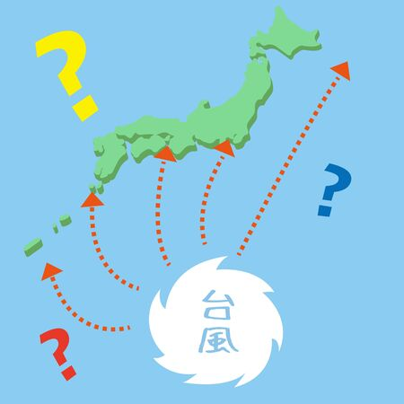 Typhoon with unknown course (tropical cyclone) Illustration