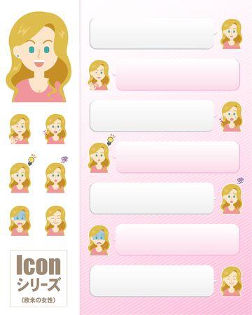 Icon Series_Western Women  イラスト・ベクター素材