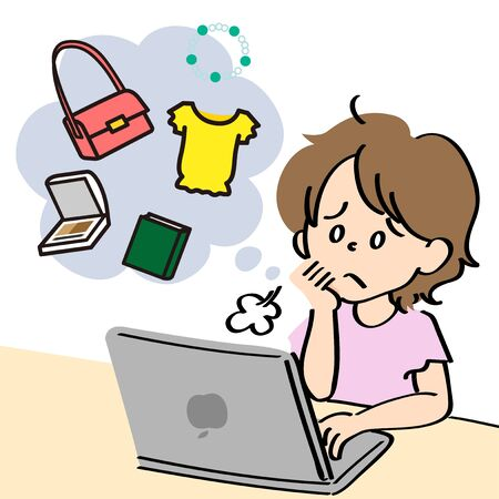 A woman sighs while shopping on the Internet