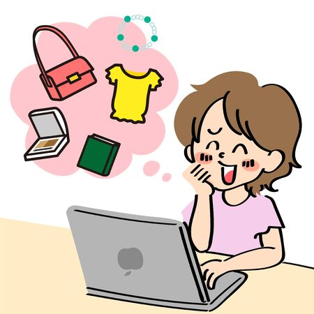 comical type, vector, internet shopping, shopping, internet, personal computer, flima, flima app, woman, 20s, thirties, forties, bag, middle age, cosmetics, clothes, clothes, ornaments, business, pocket money
