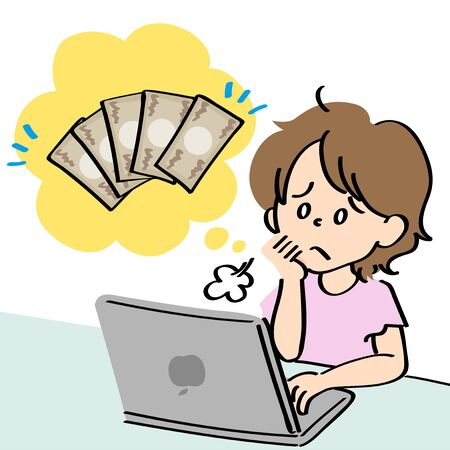 A woman who is worried about money sighs and operates her computer Ilustração