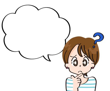 Questioning girl icons and balloons Illustration