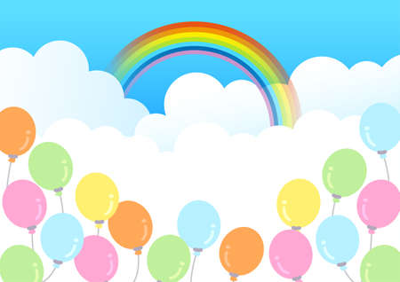 A4 size rainbow sky and balloon background