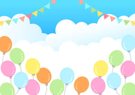 A4 size sky and balloons and flag garland background