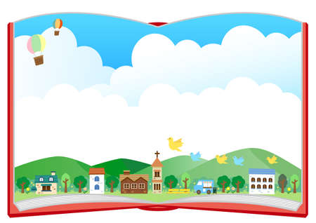Background frame (townscape) A for album Ilustracja
