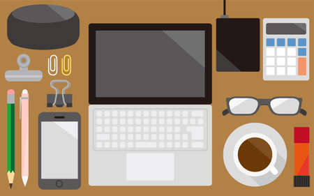 Images of digital devices such as PCs and their surroundings 矢量图像
