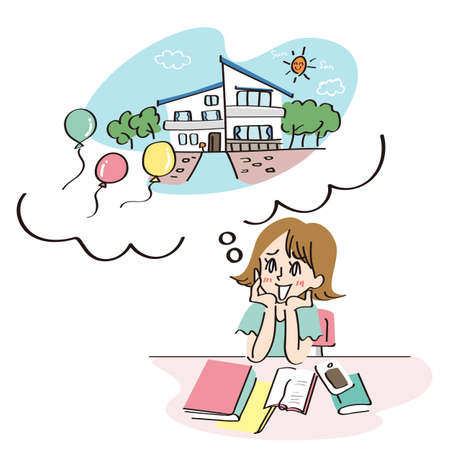 Woman imagining her home Illustration