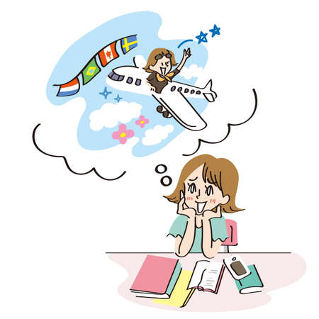 Woman imagining going on a trip abroad Illustration