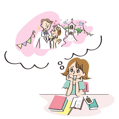 Woman imagining marriage