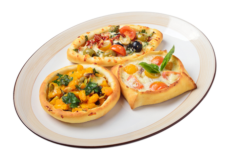 lebanese food: Lebanese food. Lebanese pies. Oriental dishes. Isolated Stock Photo