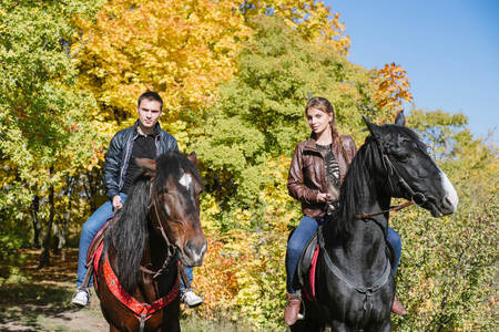 couple in love, horseback riding, tenderness, forest