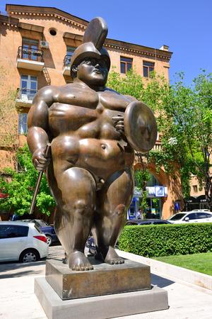YEREVAN, ARMENIA - MAY, 2016: Modern art statue Roman Gladiator near the Yerevan Cascade, a giant stairway in Yerevan, Armenia.