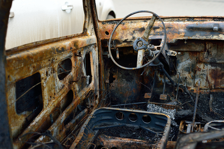 Salon of the burnt car, concept riots and terrorism
