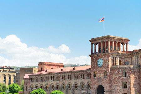 ministry: YEREVAN, ARMENIA - MAY, 2016: a central square of the city of Yerevan in Armenia. State House and the national flag of Armenia. Editorial