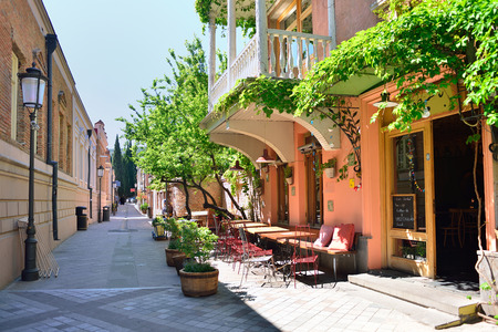 Tourist Street in the center of old Tbilisi. Banco de Imagens - 71904904