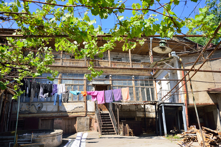 Old Courtyard in Tbilisi. Community way. Summer day in the old town.