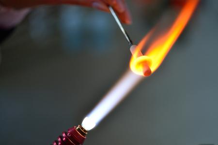 gas burner glows glass decoration, lampwork