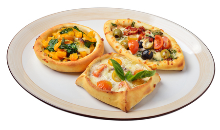 Lebanese food. Lebanese pies. Oriental dishes. Isolated Imagens