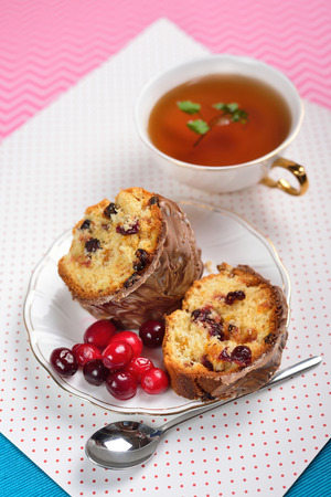Slices of cranberry cake on the bright background