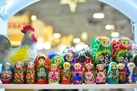 Russian traditional souvenirs, nested dolls. Matryoshka
