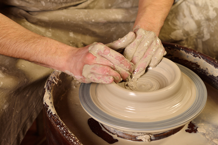 Creating A Jar Or Vase Master Crock Man Hands Making Clay Jug