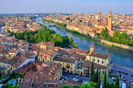 Verona. Image of Verona, Italy during summer sunrise. The famous tourist sight. Main observation deck. 写真素材