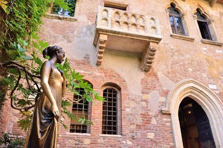 Terras en balkon van Romeo en Julia huis, Verona, Italië Stockfoto