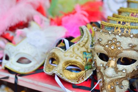 Traditional venetian mask in store on street, Verona Italy.  Stock Photo