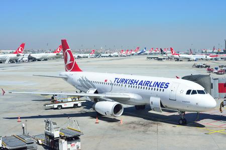 ISTANBUL, TURKEY - APRIL, 2017: Airplanes at Istanbul Ataturk Airport in Istanbul, Turkey. Editorial