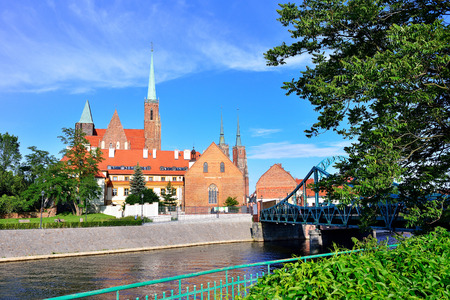 Wroclaw, Poland- Panorama of the historic part of the old town Ostrow Tumski