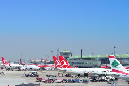 ISTANBUL, TURKEY - APRIL, 2017: Airplanes at Istanbul Ataturk Airport in Istanbul, Turkey. Фото со стока