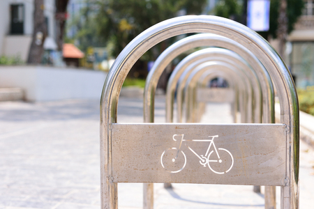 Metall bicycle parking lot in the city 스톡 콘텐츠