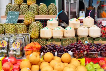 JERUSALEM, ISRAEL - APRIL 2017: Fresh Exotic Fruits on the Eastern Market Stall in Israely Market Mahane Yehuda, Jerusalem
